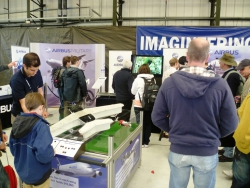 Airbus stand, sigage activity, adults and children