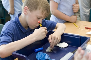 Young boy wiring an electrical block with a screwdriver